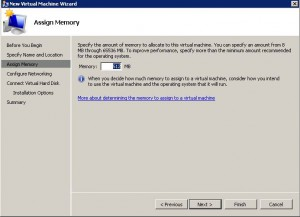 hyper-v wizard - configure memory